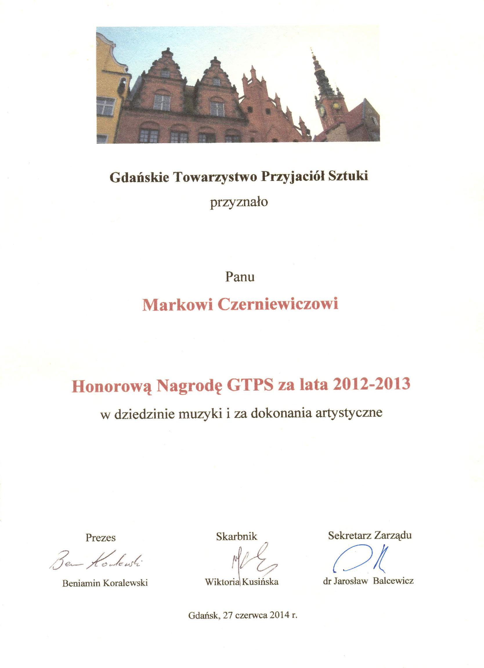 Czerniewicz_Nagroda_GTPS_2014