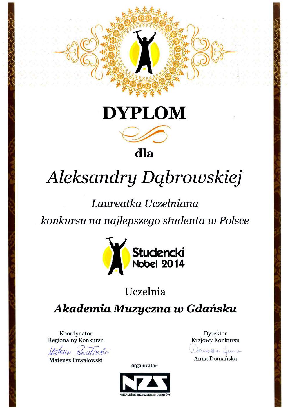 Dabrowska_Studencki_Nobel2014_laureatka_uczelniana_www