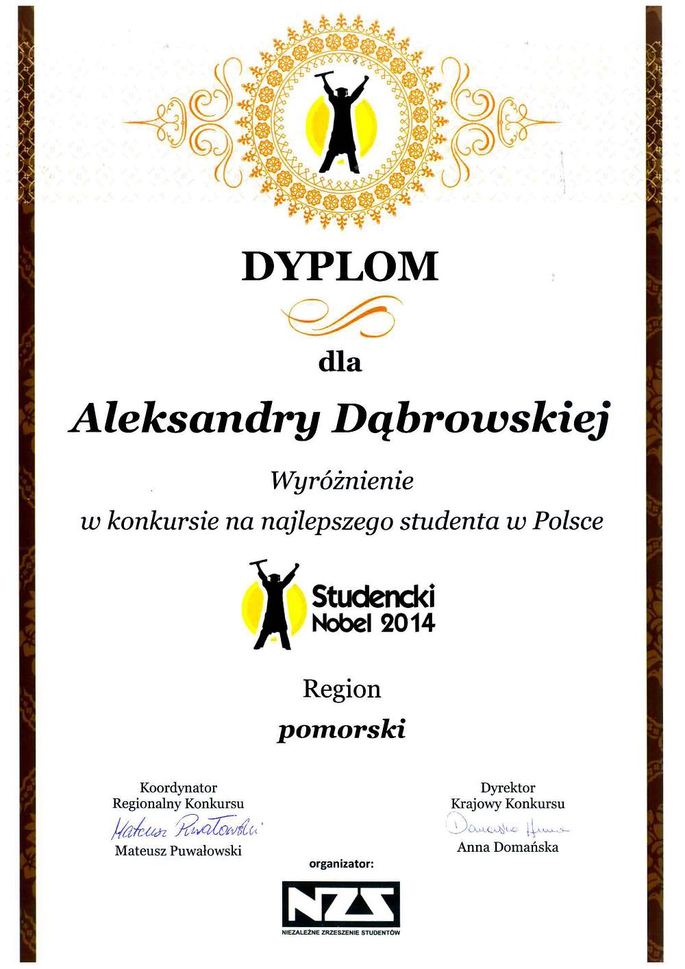 Dabrowska_wyroznienie_Studencki_Nobel2014_www