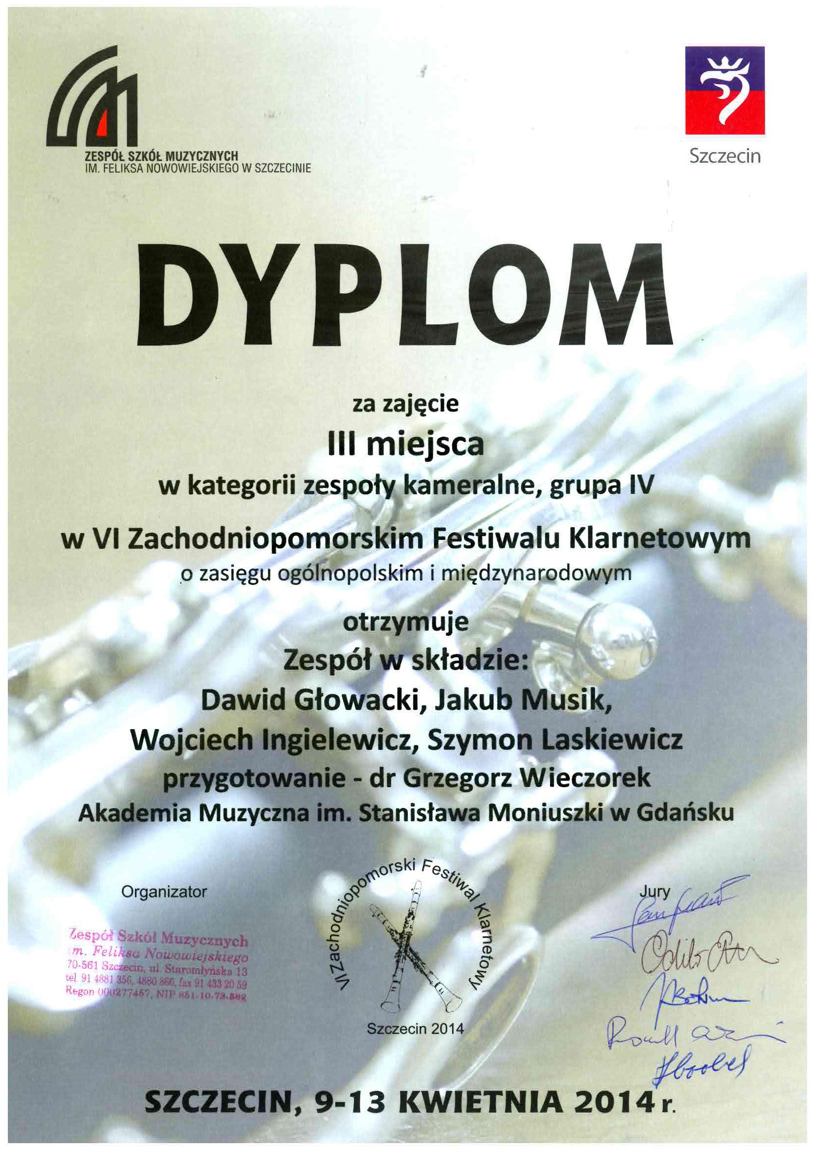 dyplom_III_nagroda_zespol_kameralny_Szczecin_2014