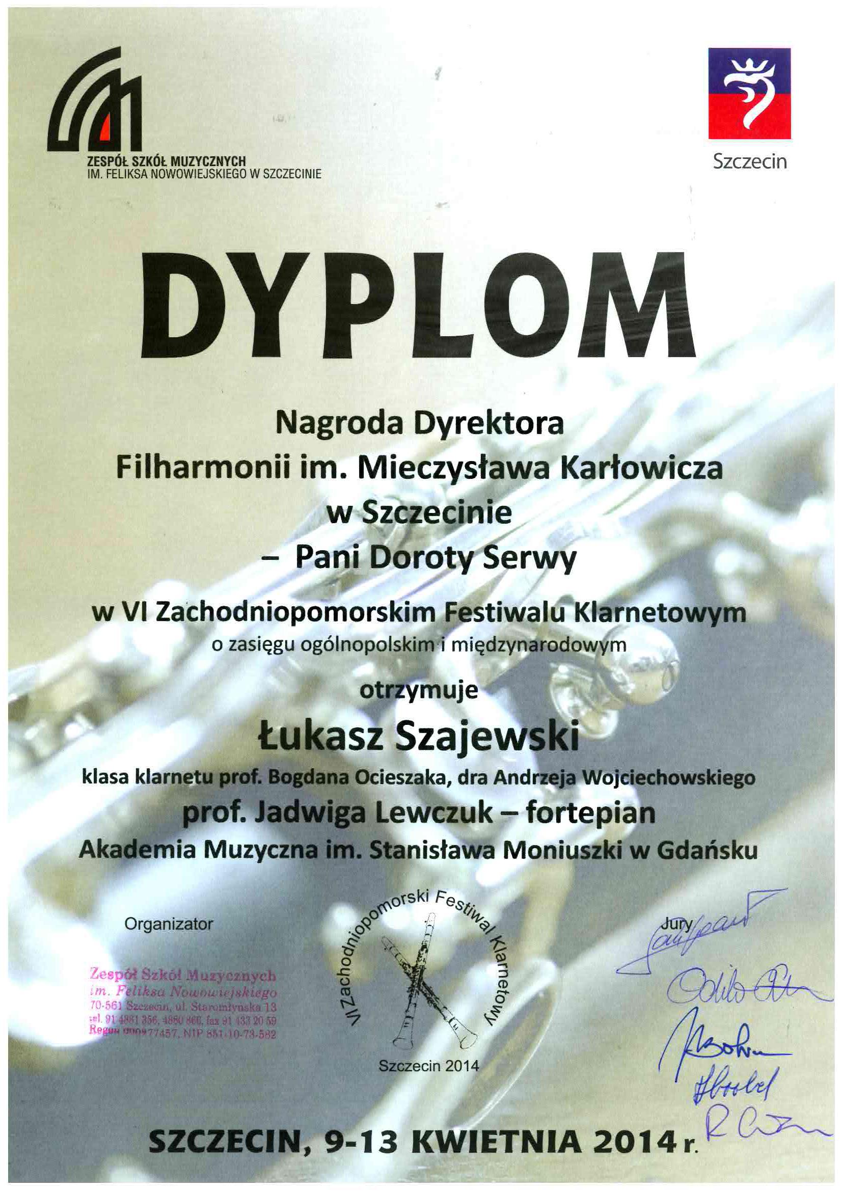 dyplom_nagroda_dyrektora_filharmonii_Szajewski