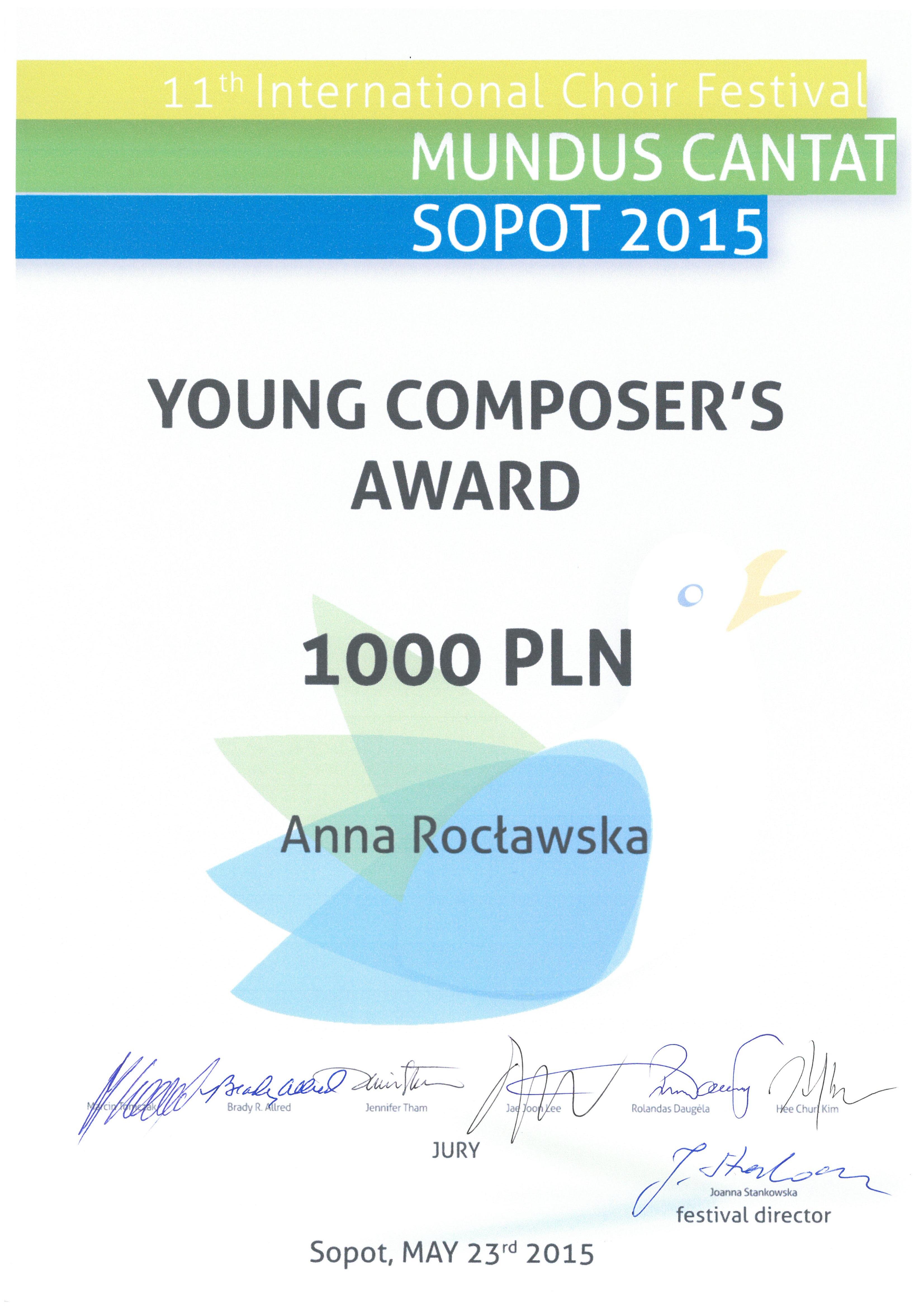 Anna Roclawska_nagroda_kompozycja_Mundus Cantat_2015