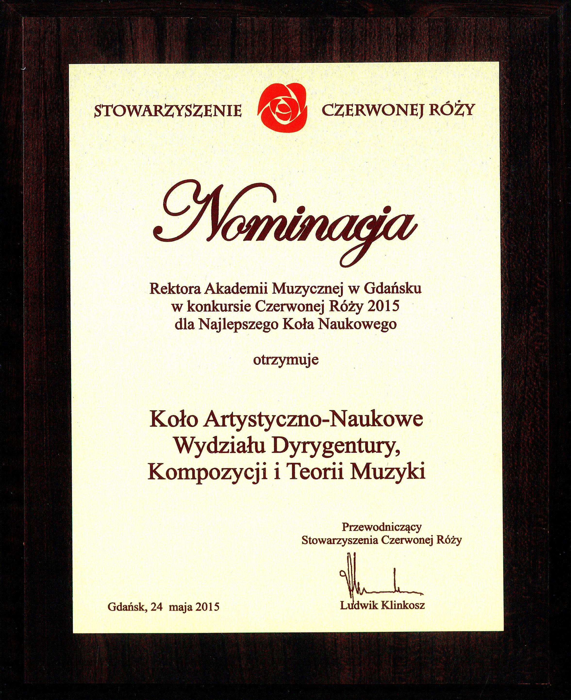 CZERWONA RÓŻA_nominacja Kola Naukowe WI
