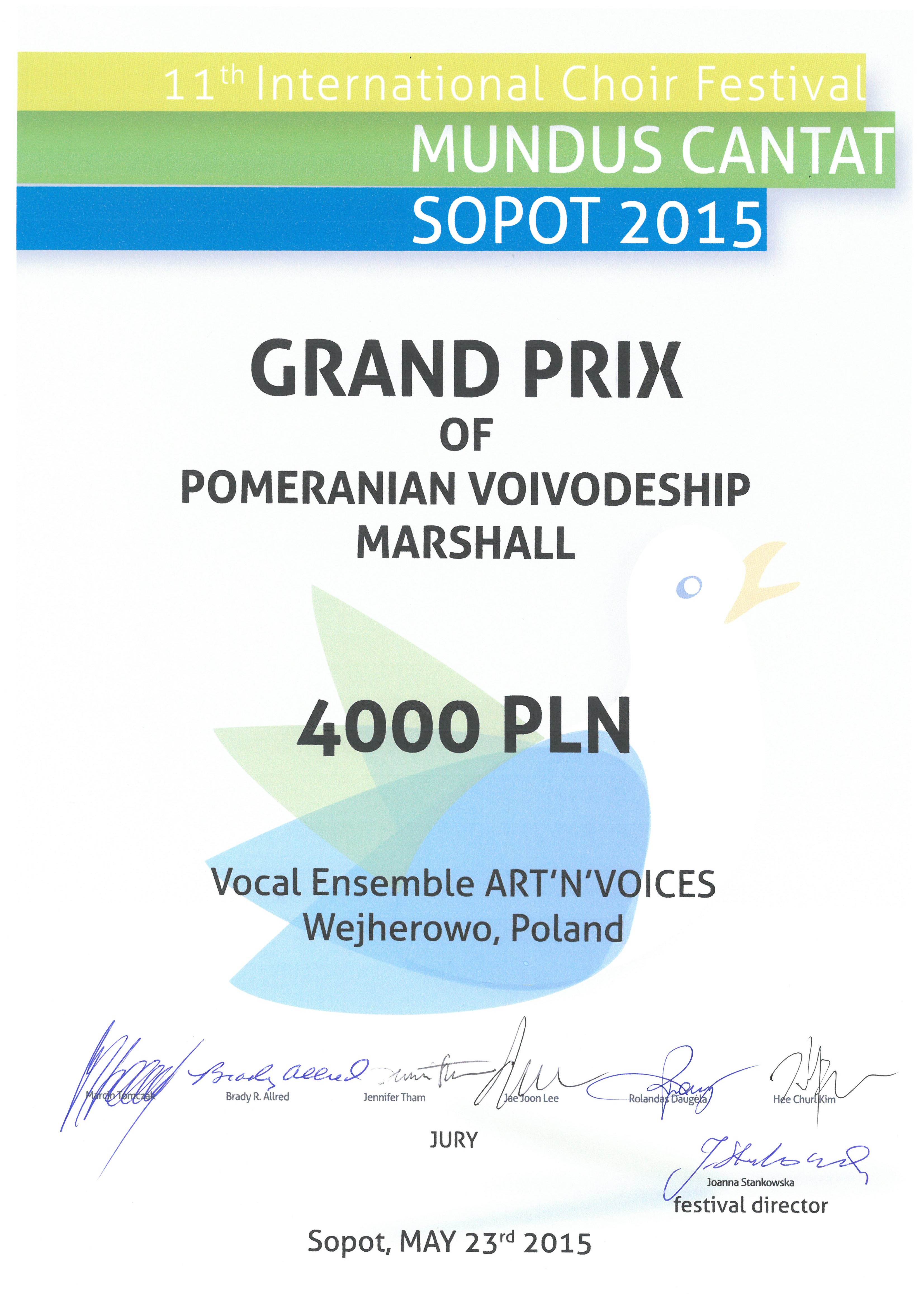 Grand Prix_Art'n'Voices_Mundus Cantat_2015