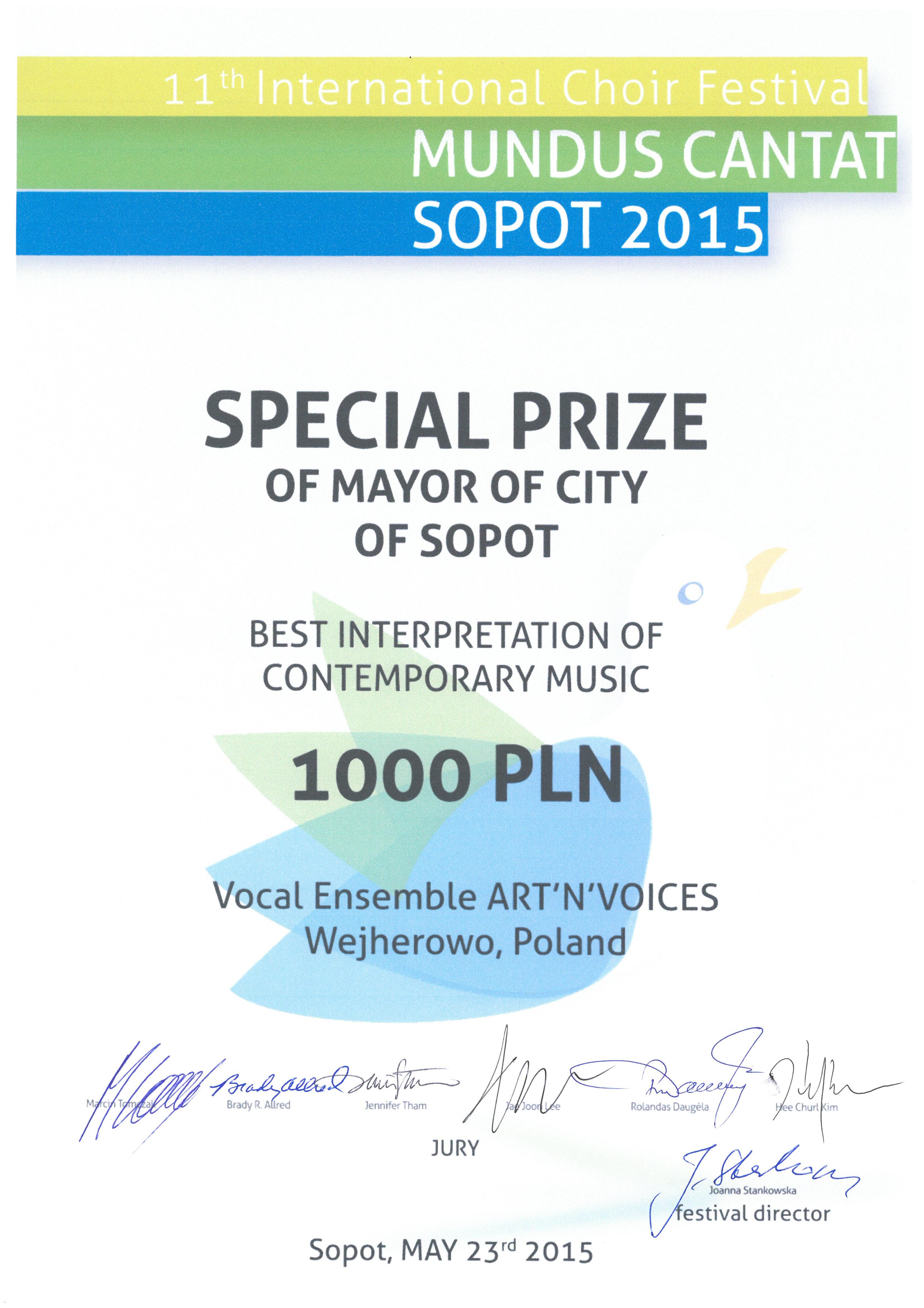 Nagroda Specjalna_Art'n'Voices_Mundus Cantat_2015
