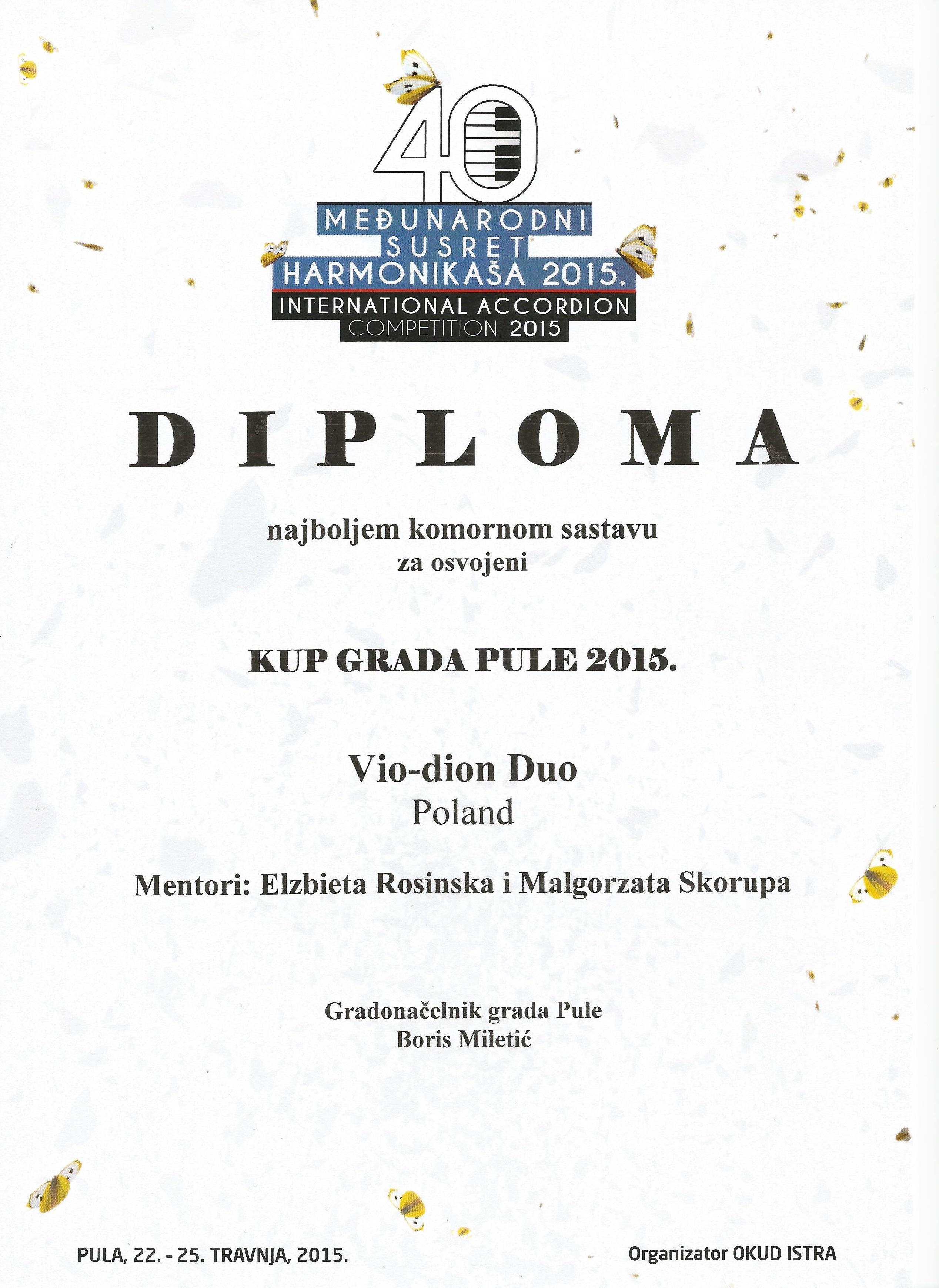 Vio-Dion Duo_Nagroda dla najlepszego zespołu kam całego konkursu