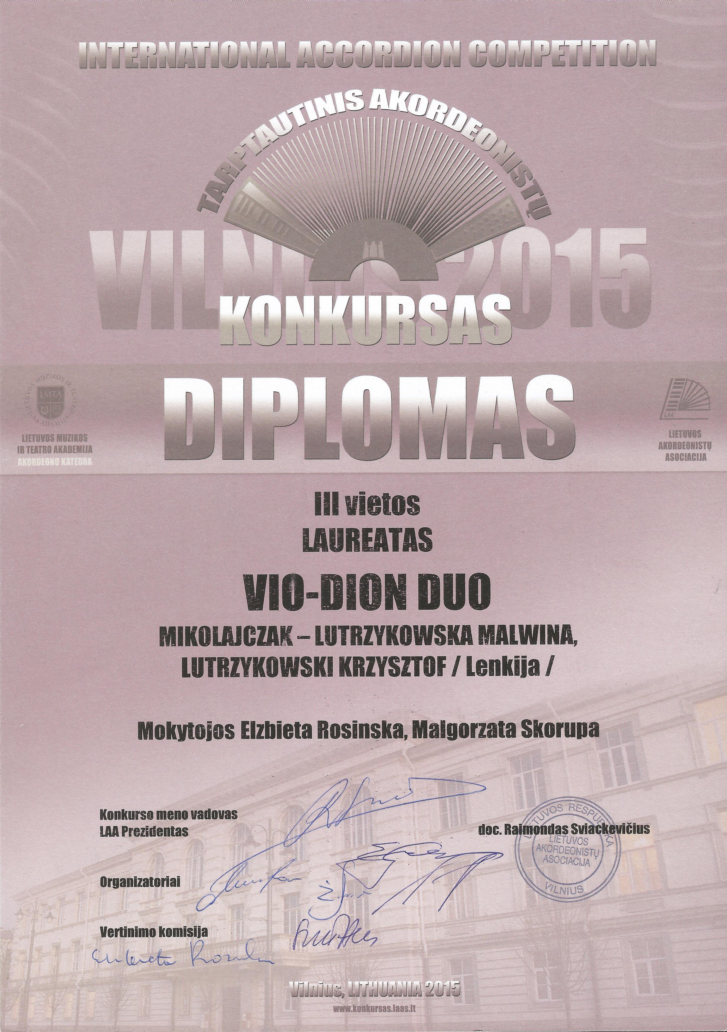 Wilno 2015 - Dyplom Malwina & Krzysztof