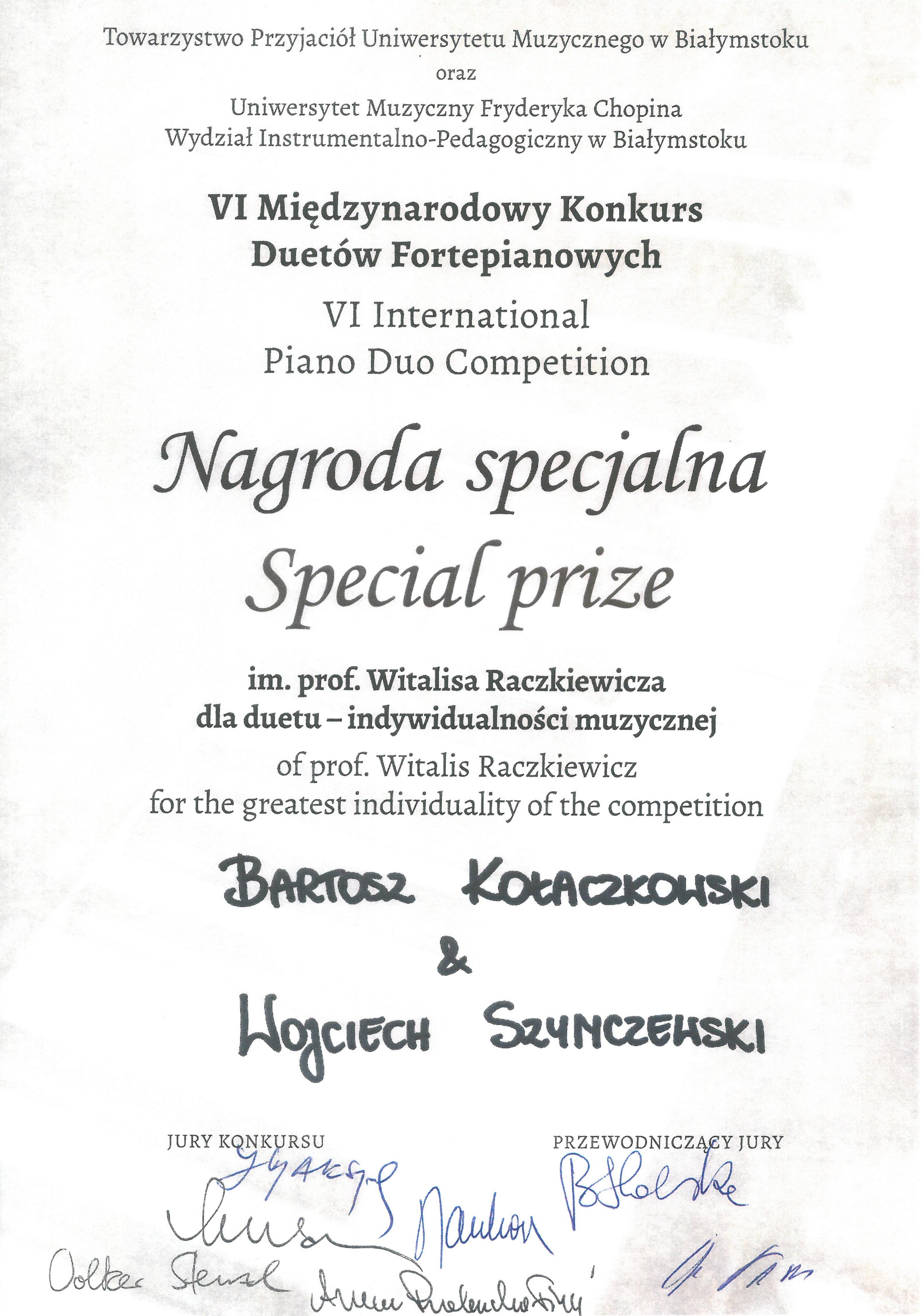 nagroda_specjalna1_Kolaczkowski-Szymczewski_Białystok_2015
