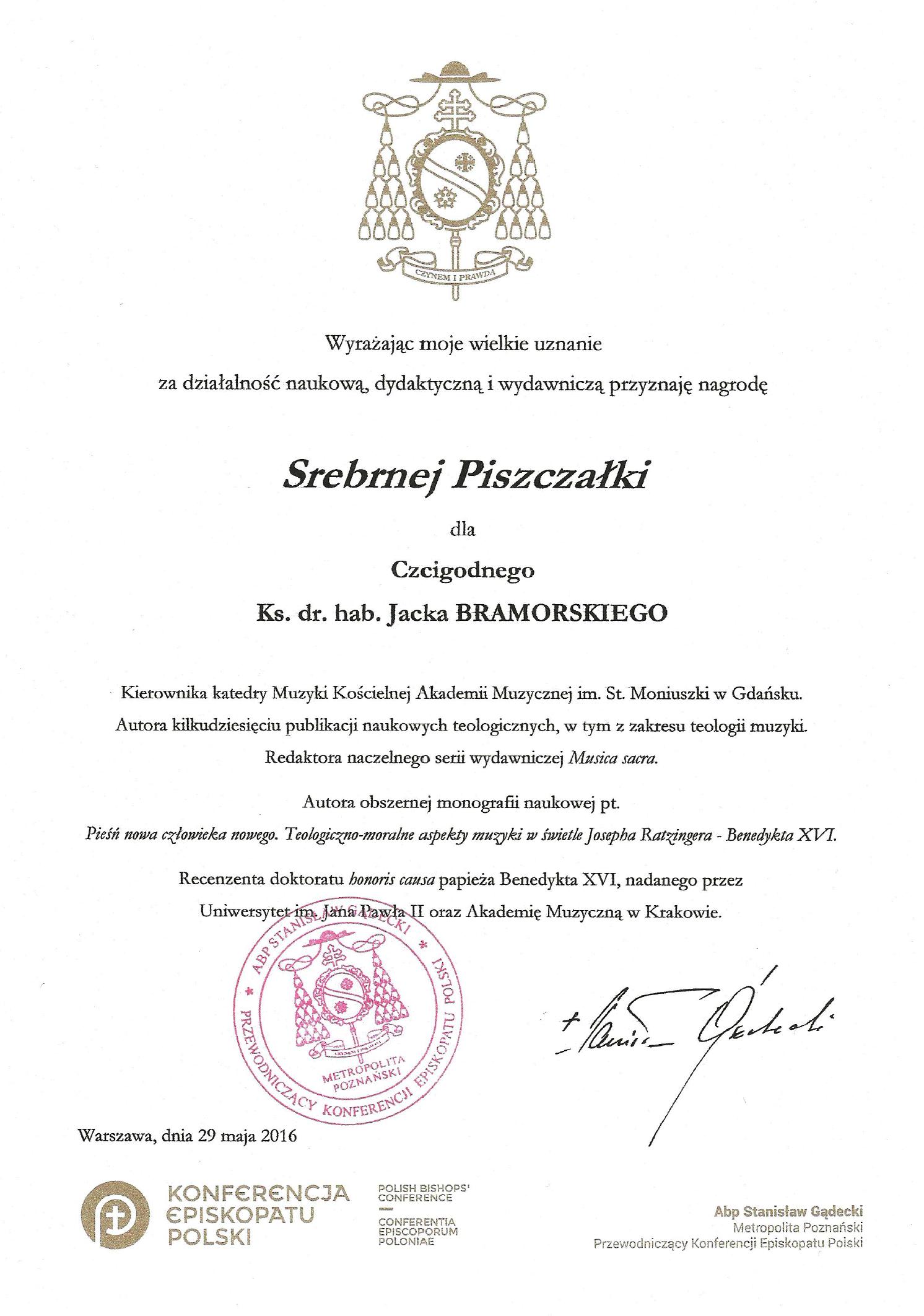 Nagroda_Srebrna_Piszczałka_ks.Bramorski_2016