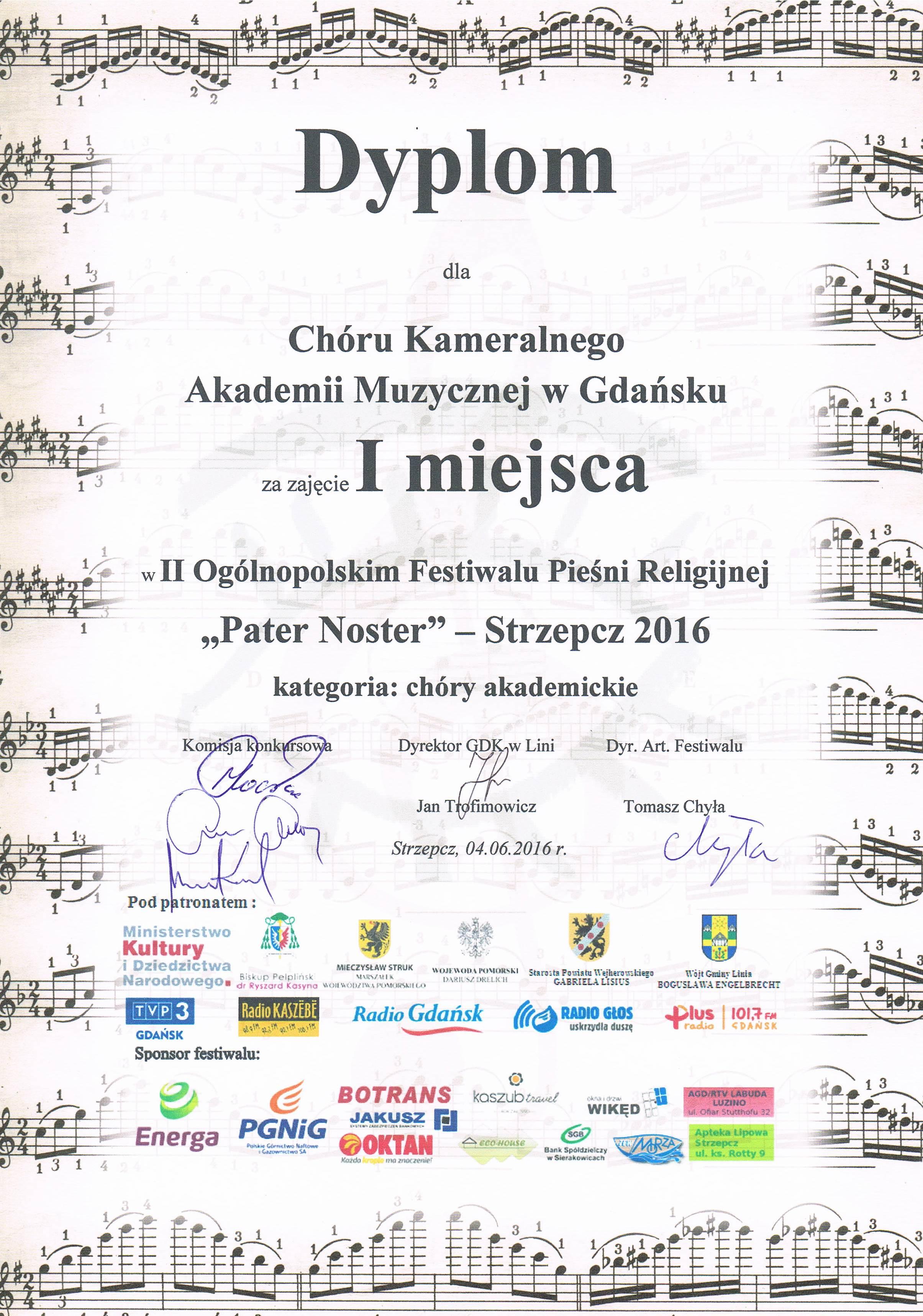 Pater Noster_Chor Kameralny AM_Strzepcz_2016_I msce_dyplom