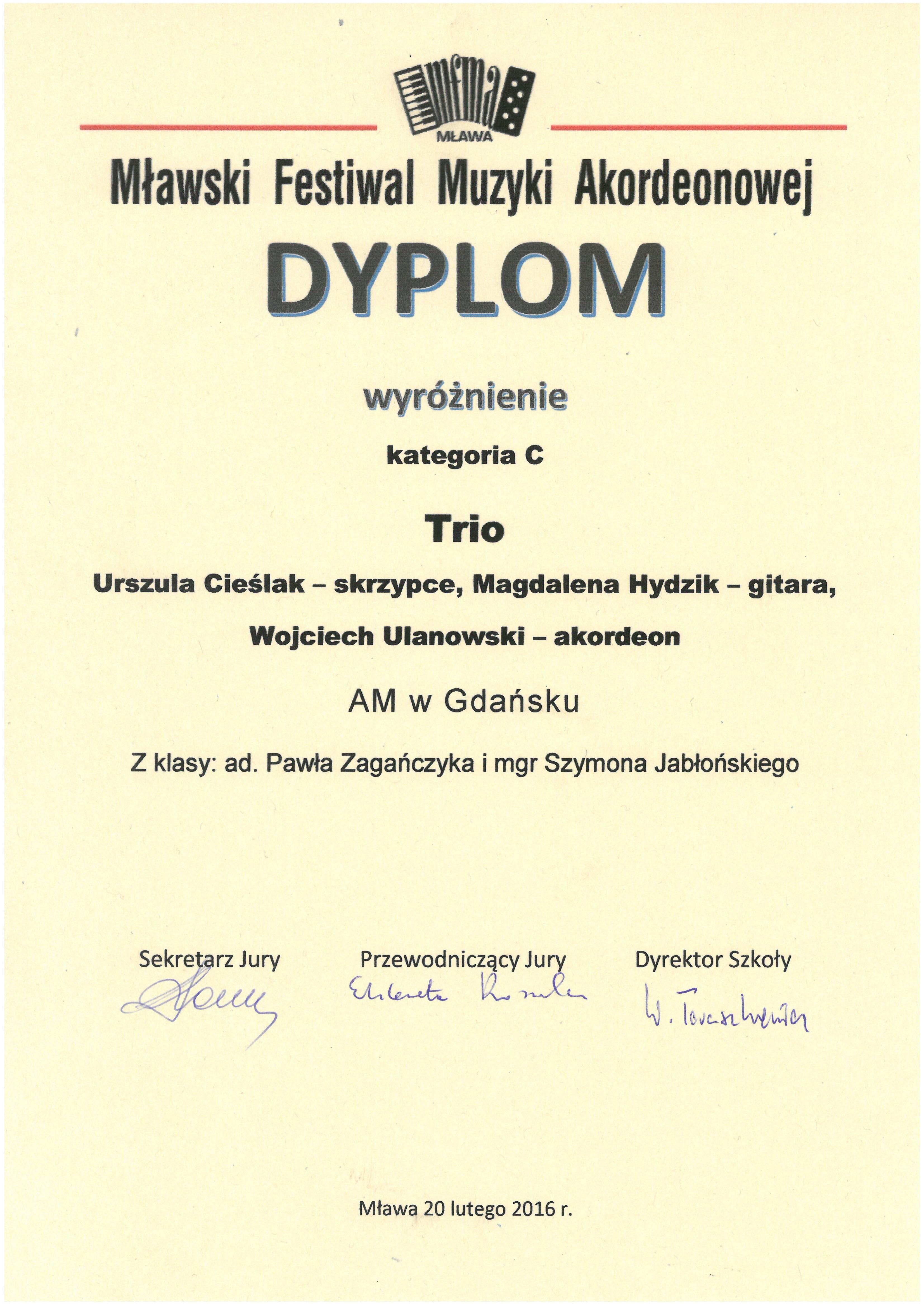 Trio_Cieslak-Hydzik-Ulanowski_wyroznienie_MFMA_2016