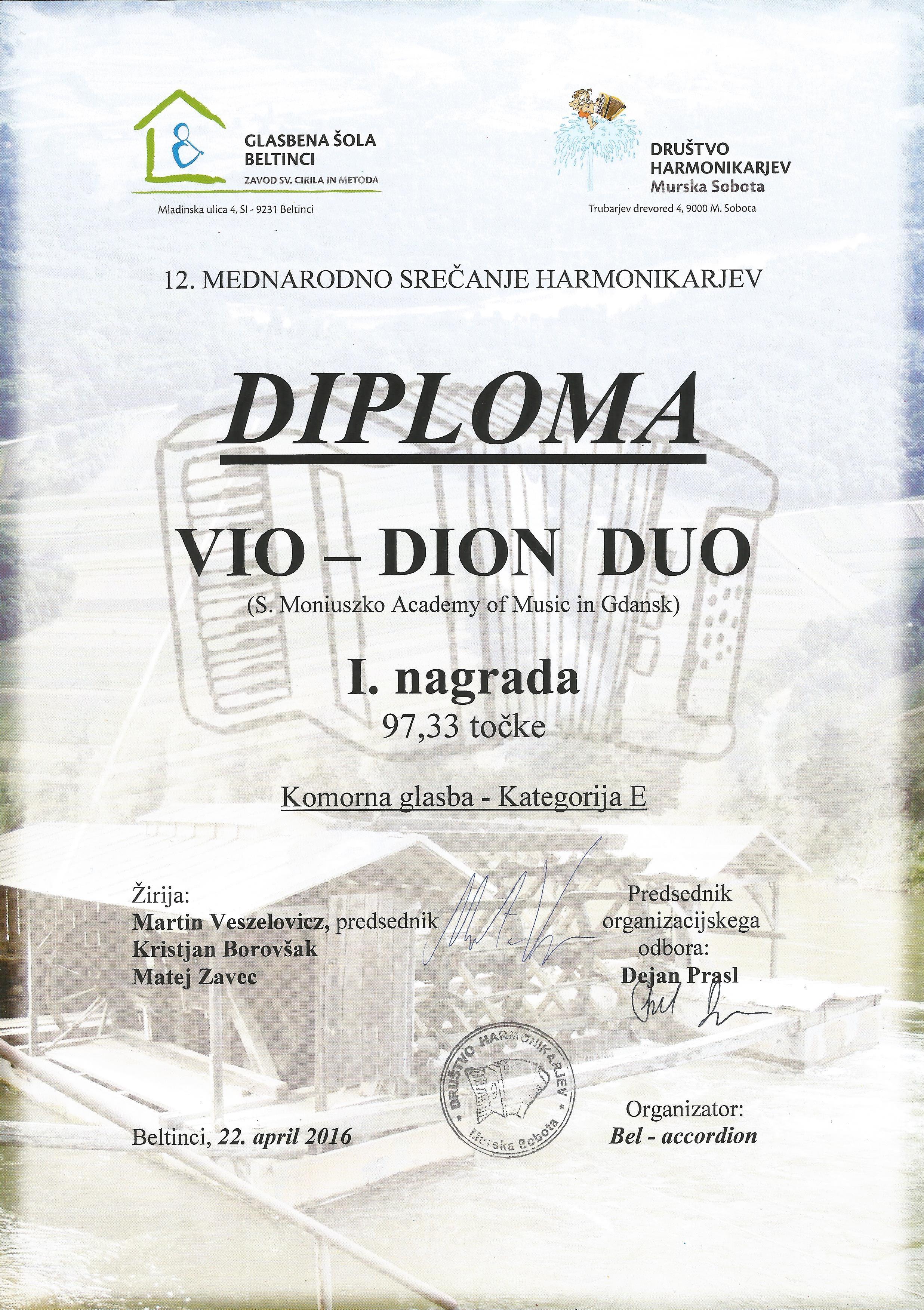 Vio-Dion Duo_I nagroda_Beltinci 2016