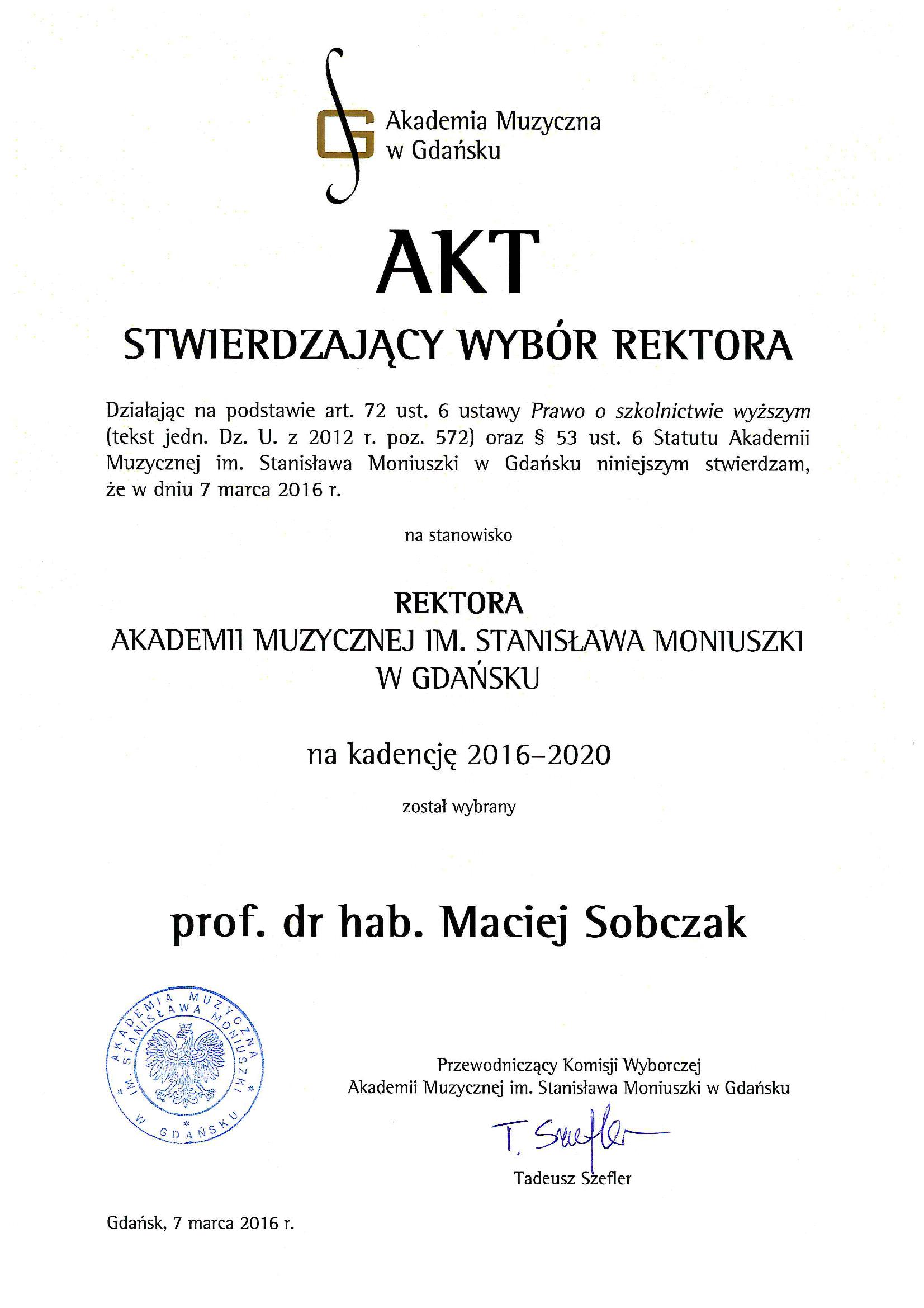akt_stwierdzajacy_wybor_rektora_2016-2020